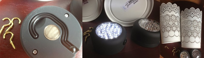 LED light hack: wall light DIY, mix IKEA candle holder with LED work light