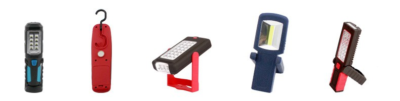 Cordless Work Light Buying Guide: LED work light: The different designs such as hanging hook, magnetic base, pivoting stand, belt buckle and so on