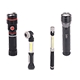 Various types of LED flashlight: directional, telescopic, focusable and warning and so on.