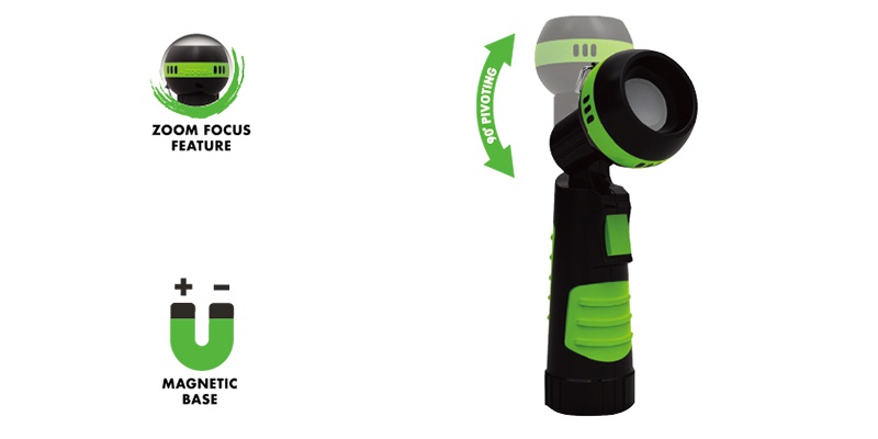 LED Swivel Head Flashlight: Ergonomic Compact Design Torch ELM-8141